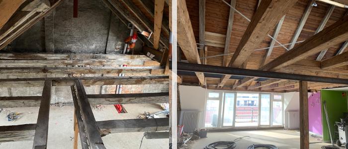 Mit Trockeneis-Strahlen sanierter Dachstuhl: Vorher und Nachher